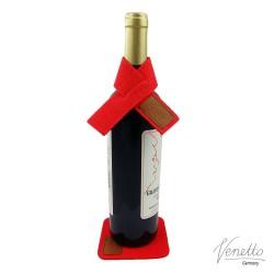 Weinmanschette Tropfenfänger Weinkragen als Tropfstopper mit Untersetzer aus Filz mit Leder Applikationen