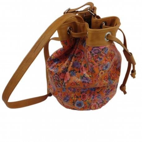 Seesack Umhängetasche Schultertasche Handtasche Damentasche Ledertasche Blumen-Motiv