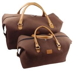 Handgepäck-Tasche Businesstasche handgemacht Handtasche Reisetasche Tasche Herren Damen mit Leder-Applikationen