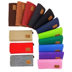 Venetto Portemonnaie Geldbörse Geldtasche wallet handgemacht aus Filz mit Leder-Applikationen