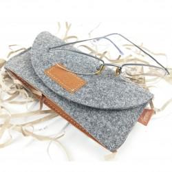 Brillenetui Tasche Hülle Schutzhülle für Brille Brillentasche Einstecketui aus Filz mit Echtleder-Applikation
