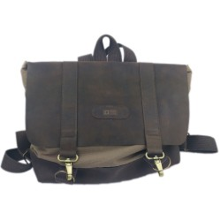 Venetto designer backpack made of leather and cotton unisex handmade brown