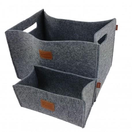 2-er Set Box Filzbox Aufbewahrungskiste