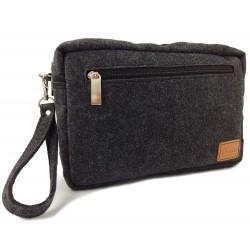 Horizontal kleine Herren Brieftasche aus Filz Handtasche Männer-Tasche Organizer für Dokumente, Reise, Ausweis, Handy
