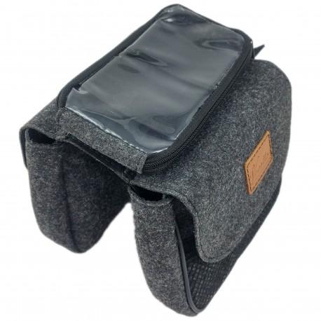 Fahrradtasche Tasche für Fahrradrahmen Fahrradhülle Schutzhülle für Zubehör, Reise, Fahrradtour mit Smartphone-Halter