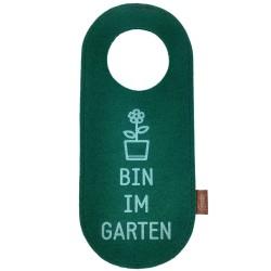 Filz Türschild Türhänger Wendeschild Klinkenschild Filzband Bin im Garten grün