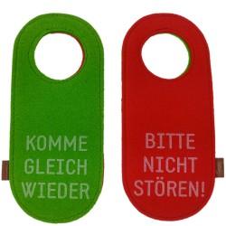 Filz Türschild Türhänger Wendeschild Klinkenschild Filzband Komme gleich wieder / Bitte nicht stören