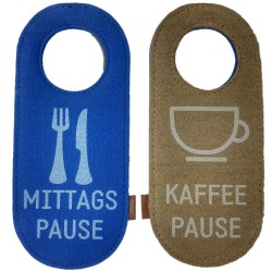Filz Türschild Türhänger Wendeschild Klinkenschild Filzband Mittagspause Kaffeepause