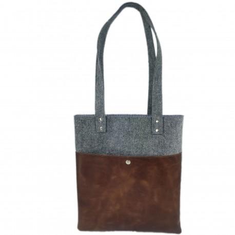 Filztasche  mit Leder Shopper Damentasche Handtasche Einkaufstasche Shopping bag für Damen