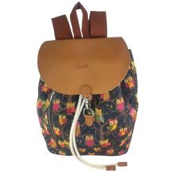 Venetto Designer Backpack Owl Codura and leather unisex owl motif