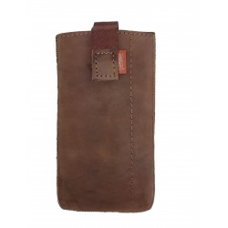 Leather Case Cover Skin Case for Smartphone Cell Phone Leather Nubuck Brown