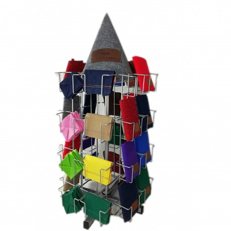 Venetto rack system. The innovative sales system for leather goods and bags.
