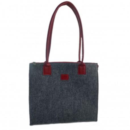 Filztasche  mit Lederhenkel Shopper Damentasche Handtasche Einkaufstasche Shopping bag für Damen
