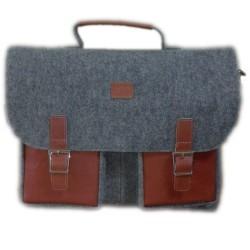 Business bag handmade Shoulder bag Document bag briefcase handbag bag men women with leather applications
