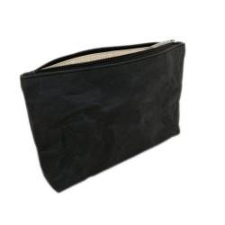 Kulturtasche aus Kraftpapier mit Futter aus 100% Baumwolle schwarz