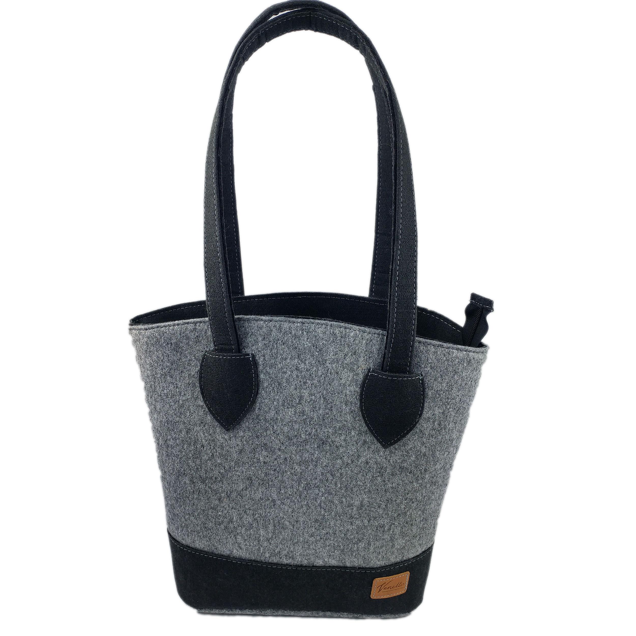 Handtasche, Damentasche, Filztasche grau schwarz handgemacht