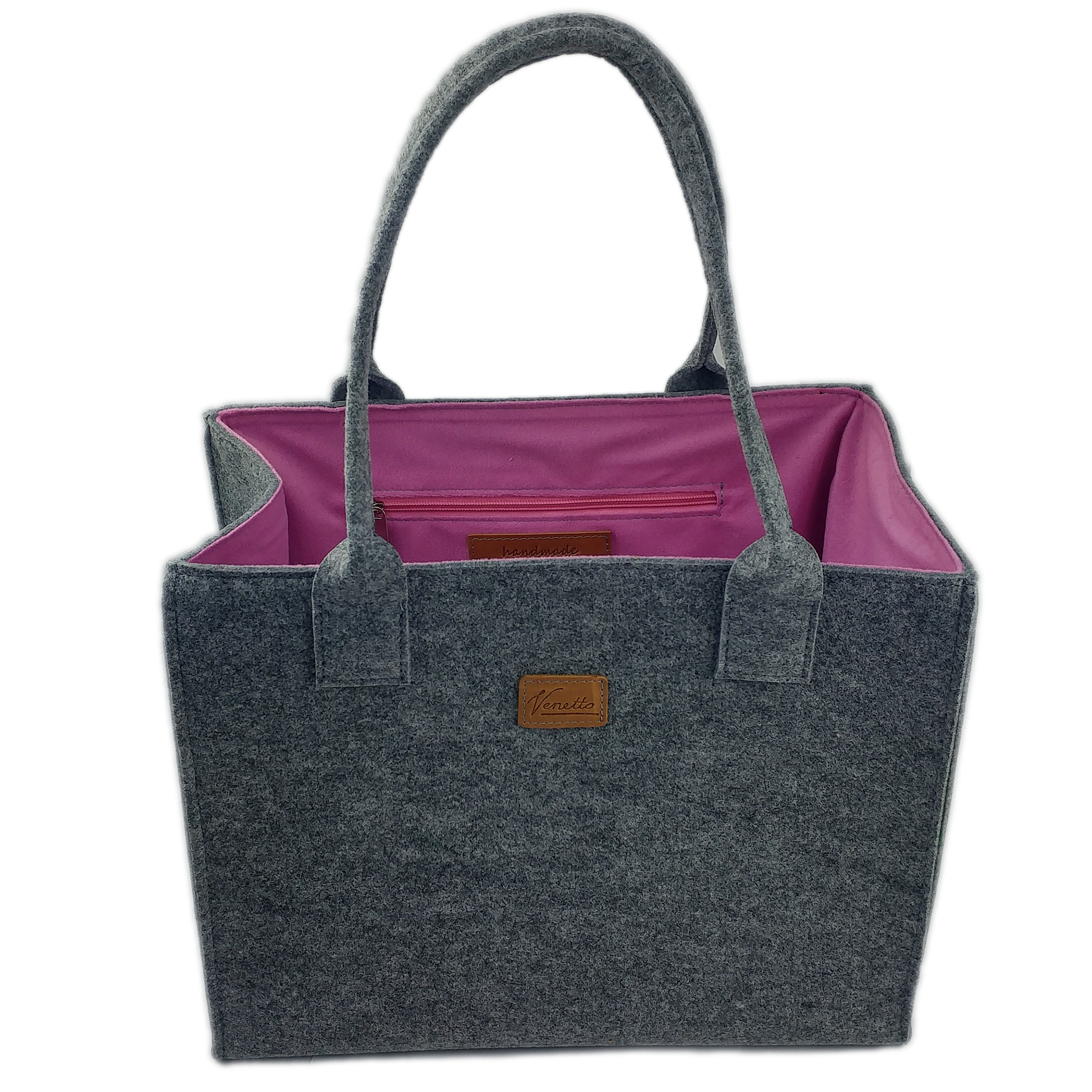 Shopper aus Filz grau pink Venetto made in Germany