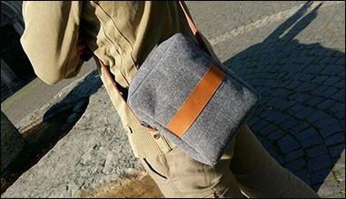 Felt bag with genuine leather applications